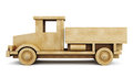 Wooden truck side view. 3d. Royalty Free Stock Photo