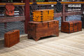 Wooden trunks old vintage railway luggage suitcase are on the platform Stock Image