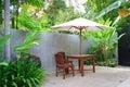 Wooden umbrella in garden , Thailand. Stock Photo
