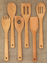 Wooden Utensil Set Stock Photography