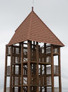 Wooden view point tower board construction with steps and corridors Stock Photo