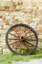 Wooden wagon wheel Stock Photo