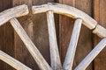 Wooden Wagon Wheel Plank Wall