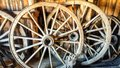 Wooden Wagon Wheels from Horse Carriages Royalty Free Stock Photo