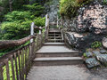 Wooden walkway approaching Bushkill Falls waterfall in the Poconos in Pennsylvania Royalty Free Stock Photo
