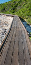 Wooden walkway blue sky and mountain background Stock Photo
