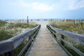 Wooden walkway/path to Tybee Island Beach  near Savannah, Georgia. Royalty Free Stock Photo