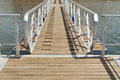 Wooden walkway serving amieira pier on the banks of the reservoir of alqueva alentejo portugal Royalty Free Stock Photos