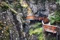 Wooden walkways leading through gorner gorge the at zermatt switzerland Royalty Free Stock Images
