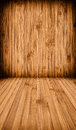 Wooden wall and floor background in brown color Royalty Free Stock Photography