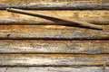 Wooden wall and yoke fragment of frame with a texture background Royalty Free Stock Photo