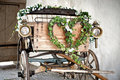 Wooden wedding carriage Royalty Free Stock Photo