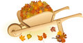 Wooden wheel barrow full with autumn leaves