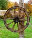 Wooden wheel on fence old in ukrainian village Royalty Free Stock Photos