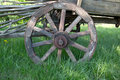 Wooden wheel of old carriage Stock Photo