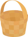 Wooden wicker brown  empty basket for picnic isolated on white Royalty Free Stock Photo