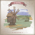 Wooden windmill and hill landscape color hand drawn vector sketch.
