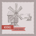 Wooden windmill and hill landscape hand drawn vector sketch.