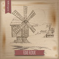 Wooden windmill, landscape and wheat vector sketch on wintage background.
