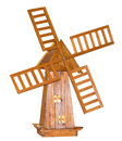 Wooden windmill on white background Royalty Free Stock Photo