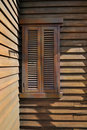 Wooden window at corner Royalty Free Stock Image