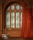 Wooden window with curtains Royalty Free Stock Images