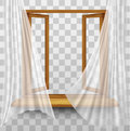 Wooden window frame with curtains Royalty Free Stock Photo