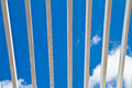 Wooden window grilles and blue sky Stock Photo