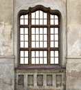 The wooden window of the old destroyed church Royalty Free Stock Photo