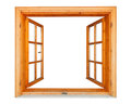 Wooden window open with marble ledge opened isolated on white background Royalty Free Stock Photo