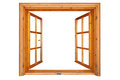 Wooden window opened Royalty Free Stock Photo