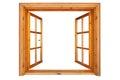 Wooden window opened