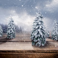 Wooden winter landscape a on a surface Stock Photo