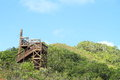 Wooden zip line tower hill babeldaob island palau Royalty Free Stock Photo