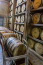 Woodford reserves rik house versailles ky usa october oak barrels aging inside reserve bourbon Stock Photography