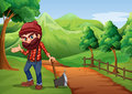 A woodman holding an axe at the pathway near the wooden fence illustration of Royalty Free Stock Image