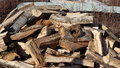 Woodpile haphazard pile of firewood just freshly split Royalty Free Stock Images