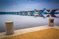 The Woodrow Wilson Bridge, seen from the Potomac River waterfron Royalty Free Stock Photo