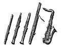 Woodwind musical instruments set Royalty Free Stock Photo