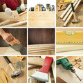 Woodwork collage Stock Photo