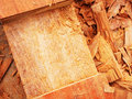 Woodwork cut surface of log wood and sawdust as part of Royalty Free Stock Photos