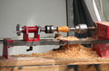 Woodwork lathe a small in a joinery workshop Royalty Free Stock Photography