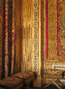 Woodwork and silks at versailles palace france woven from lyon in louis xivs room Royalty Free Stock Image