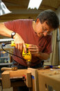 Woodworker with Drill Stock Photo