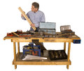 Woodworking, Active Man With Hobby as Handyman Stock Photos