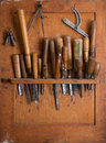 Woodworking tools old in carpentry shelf close up Stock Image