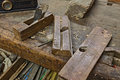Woodworking tools set of old planers on the carpenter s bench ancient carpentry for Royalty Free Stock Photo