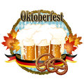 Woody frame oktoberfest celebration design with beer and pretzel file contains gradients clipping mask transparency Stock Images