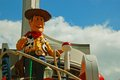 Woody the main character in toy story is greeting the crowd during the afternoon parade in disneyworld orlando Stock Photography