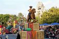Woody from toy story on a rocking horse on float in disneyland parade is riding s christmas fantasy very popular christmastime Royalty Free Stock Photo